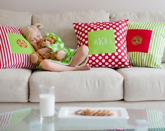 Monogrammed Holiday Pillow Cover - available Sept 1st