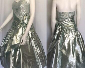 Vintage Metallic Silver Blue Party/Prom Dress - Circa 1980s