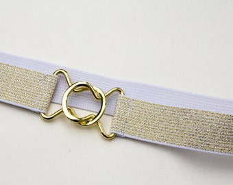 Sparkly light gold cinch belt with interlocking clasp - available in women's regular and plus sizes