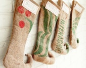 Personalized Burlap Christmas Stockings Red and Green Elf Stockings - Rustic Modern Holiday Decor