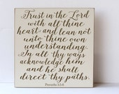 Trust in the Lord Wood Sign, Proverbs 3:5-6 Quote,  Nursery Decor, Wall Art for Nursery, Child Room Decor, Family Decor, Typography Sign