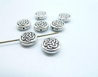50pcs 10mm  Antique Tibetan silver Celtic Knot Chinese knot Spacer Bead charm Pendant c8089