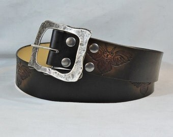 Customizable 2 1/4 inch, Black & Brown, Tribal Owl Design Leather Kilt or Pirate Belt