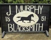 "Primitive  J. Murphy Blacksmith Trade Sign Wood Horse Sign Folk Art 27"" x 16"""