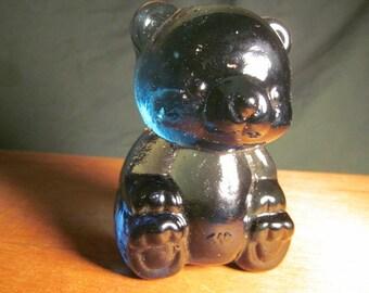 Vintage Glass Cobalt Blue Teddy Bear Paperweight