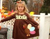 Personalized Thanksgiving Turkey Dress - Girls Dress- Funky Turkey- Baby Toddler Tween- Fall