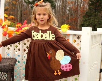 Personalized Thanksgiving Turkey Dress - Girls Dress- Funky Turkey- Baby Toddler Tween- Fall