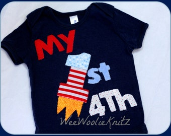 1st 4th of July Bodysuit, Girls or Boys Navy, Red, Or White First July Fourth Firecracker