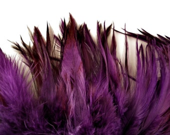 Feathers loose Saddle Purple  hand dyed over eggshell