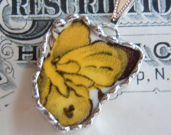 Fiona and the Fig-Antique Alfred Meakin Medway-Butterfly-Broken China Soldered Necklace Pendant Charm-Jewelry-Bracelet Charm