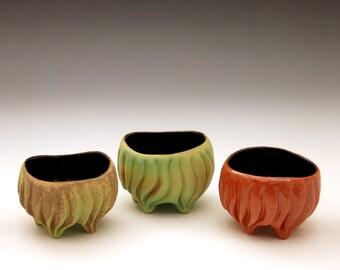 Carved porcelain ring bowl, in orange glaze, black glaze, jewelry holder, food bowl