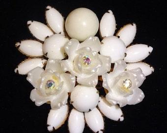 Sale Pre Holliday Vintage Unsigned Judy Lee Aurora Borealis Blue Rhinestone Starburst Brooch Pin