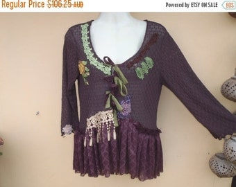"""20%OFF bohemian gypsy lagenlook  boho chocolate stretch lace top..medium to 48"""" bust..."""