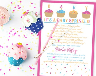 Cupcakes and Sprinkles Baby Sprinkle Invitation