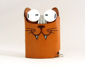 Smiling Cat Earphone Case - Tea Brown - The Case with a Face - Leather Earphone Case / Earpod Case / Earphone Wrap / Earbud Organizer