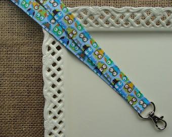 Fabric Lanyard - Mini Hoot Owls on BLUE