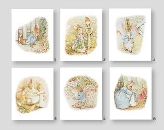 Peter Rabbit Nursery Decor Beatrix Potter Art Prints Baby Boy Girl Storybook Bedroom Bathroom Shower Playroom Decor by YassisPlace (PR-001)