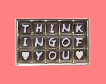 Thinking of You Gift for Best Friend Long Distance Friendship Just Because Gift for Her BFF Gift Condolence Gift Him Cubic Chocolate Letters