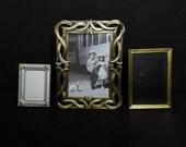 SALE 3 Vintage Picture Photo Frames Metal Frame Lot Art Nouveau Gold Brass Ornate Instant Collection Home Decor