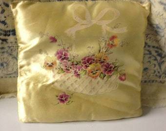 Vintage Yellow Pansy Pillow Floral