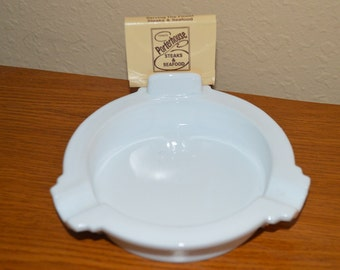 Unique Milk Glass Ashtray With Matchbook Holder