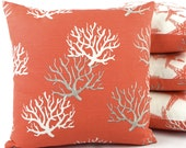 """Star Fish Coral Reversible Throw Pillow Cover 18"""" Square Bright Sea Life Beach Home Decor Premier Prints, Wonders of the Seas Salmon"""