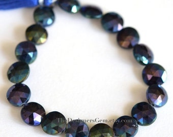 25% OFF SALE AB Blue Coated Black Spinel Faceted Coin Shape 12mm - 1/2 Strand