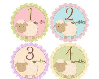 Monthly Baby Stickers, Girls First Year Photo Props, Baby Month Stickers, Baby Announcement, Monthly Photos, Baby Gift, Lambs (G138)