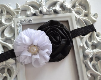 Elegant Black & White Flower Headband, Ballerina Flower, Cabbage Rose, Rhinestone, Shimmery Headband, Hair Accessory, Baby Girl