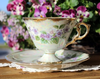 Iridescent Pedestal Tea Cup Teacup and Saucer, Norleans February Violet, Japan 12976
