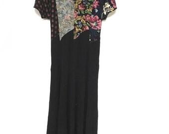 vintage crepe floral long dress
