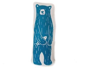 Soft Toy & cushion Mr Bear · Hand Screen printed cushion · Plush doll bear and sardine · Decorative pillow · Accent pillow