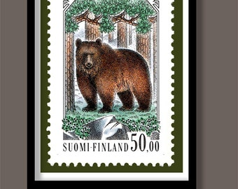Bear poster. Vintage stamp print. A3 size. Stamp art. Animal prints. Forest animals. Bear print . Postage stamp print.