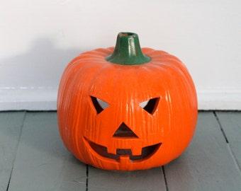 Trick or Treat.... Vintage Ceramic Jack-o-lantern Pumpkin Halloween Decoration