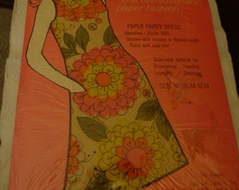 1960s Paper Dress MIB Groovy Mod Hippie Paper dress Flower Fantasy very cool Never Used