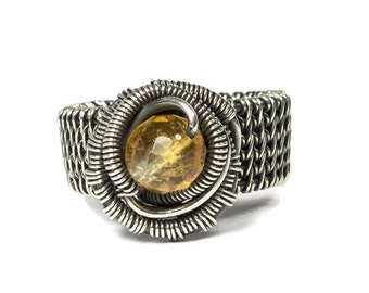 Size 6 1/2 Silver Citrine Ring, Pinkie Wire Ring, 17th Anniversary Gift, November Birthstone Jewelry