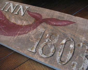 SALE Ode to Brewster, Hand Painted 1803 Whale Inn Sign Reclaimed Florida Cypress Nautical Tavern Sign Ambiance OOAK 24 x  8 x 2 Beach Decor