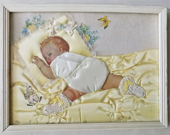 a pair of 1930s-40s Baby Collage / Nursery Decor / Crochet Satin/ Lace / outsider art / embroidered /Maud Tousey Fangel/ hand made