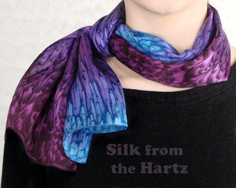 Purple/Blue Hand Dyed Silk Scarf