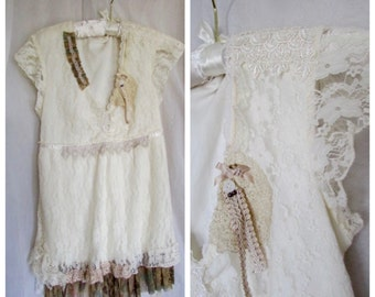 Soft Lace Top, refashioned shabby romantic lacy Victorian Edwardian, altered womens lace blouse, ruffle lace clothing, lacy hemline, SMALL