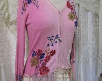 Pink Floral Sweater with tiny beads, shabby lace embellished, feminine cardigan, romantic altered womens clothing , SMALL