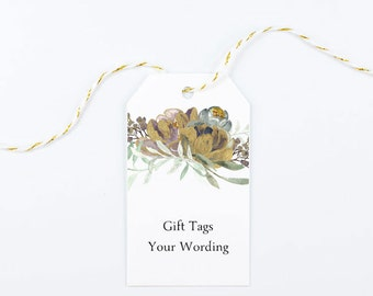 Gift Tag, Wedding Thank You, Bridal Shower, Elegant Favors, Winter, Gold, Boho Glam, Autumn - Precious Blooms, 2 x 3.5 inches, Set of 25