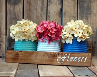 Flowers stencil Honey Pot Rustic Box, table centerpiece, rustic decor, rustic table centerpiece, wooden box, home decor, wedding centerpiece