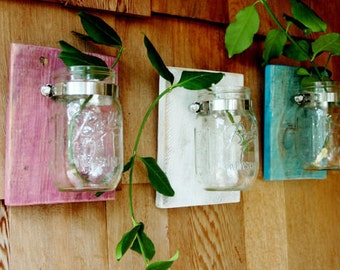 Beach Side Trio Three Mason jars mounted on recycled wood shabby chic rustic wall decor