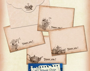 Alice Thank you Cards with Envelope, Alice in Wonderland Cards, Alice in wonderland envelope, downloadable card and envelope