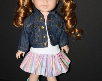 """14.5"""" Doll Wellie Girl Denim Jacket with Tank Top and Skirt"""