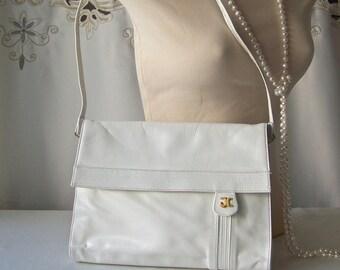 Vintage White Leather Shoulder Bag I Magnin 1960s Made in France