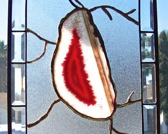 Vintage Glass Sun Catcher Panel Agate Pink Lips Quartz Crystals Copper Edge Art Glass 1980s