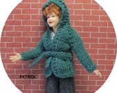 Dollhouse miniature petrol hooded jacket for a 1/12th scale lady doll. Handknitted.