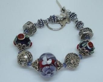 SALE ~ Floral Lampwork, Bali Silver, Swarovski Crystal Bracelet